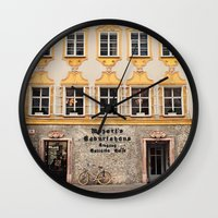 mozart Wall Clocks featuring Mozart Residence  by Laura Ruth