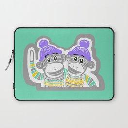 Grey, Mint, Purple, and Yellow Sock Monkeys Art Laptop Sleeve