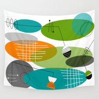 mid century Wall Tapestries featuring Mid-Century Modern Atomic Ovals by Kippygirl