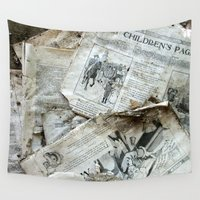 newspaper Wall Tapestries featuring Old Newspaper Left to the Elements...Children's Page by Andrea Jean Clausen - andreajeanco