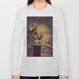 0953s-ZAC Dancer on Pedestal Graceful Young Black Woman Rendered in the Style of Antonio Bravo Long Sleeve T-shirt
