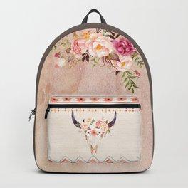 Bull Head Skull Boho Flowers Backpack