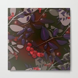 Seamless pattern with colorful autumn leaves and rowanberry on black glassy effect Metal Print