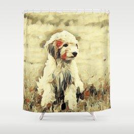 watercolor golden doodle Dog Portrait Shower Curtain