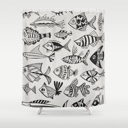 Inked Fish Shower Curtain