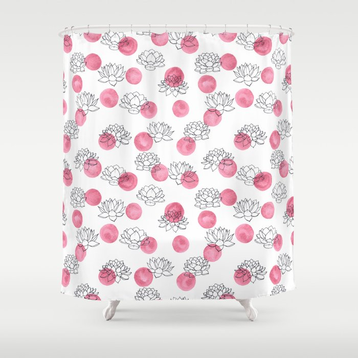 Water Lilies on Watercolor Circles Shower Curtain by faerieshop ...