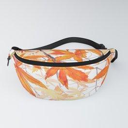 orange maple leaves watercolor Fanny Pack