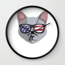 Patriotic Russian Blue Cat Kitty Merica American Flag Wall Clock