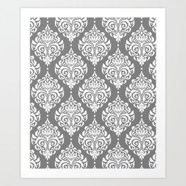 Grey Damask Art Print