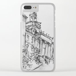 wilbur cross uconn ink and charcoal drawing Clear iPhone Case