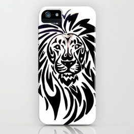 Lion face black and white iPhone Case