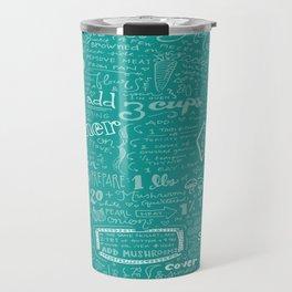 Julia Child's Beef Bourguignon Hand-Drawn Recipe Art Print in Le Cruset Caribbean Travel Mug