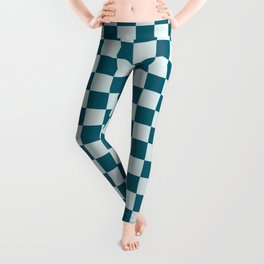 Pale Blue and Tropical Dark Teal Small Checker Board Pattern Inspired by Sherwin Williams 2020 Trending Color Oceanside SW6496 Leggings
