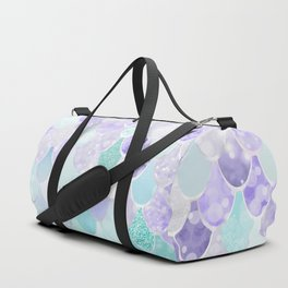 Mermaid Iridescent Purple and Teal Pattern Duffle Bag