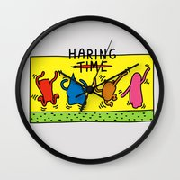 keith haring Wall Clocks featuring Haring Time by le.duc