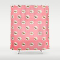 macaroons Shower Curtains featuring POLKA•DOT  MACAROONS by GIZIBE
