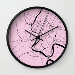 Bangkok Thailand Minimal Street Map - Pastel Pink and Black Wall Clock