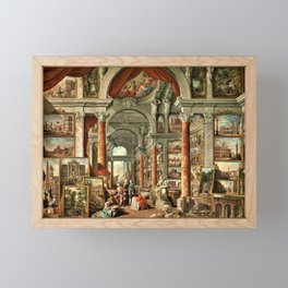 Giovanni Paolo Pannini 19th Century Masterpiece: Picture Gallery with Views of Modern Rome Framed Mini Art Print