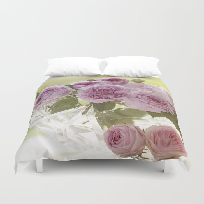Wonderful English Roses in a crystal bowl- Rose-Flowers- Duvet Cover