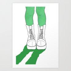 Rainbow Gossip - Green Art Print