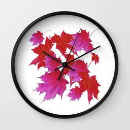 PURPLE-fuchsia maroon color blowing leaves Wall Clock