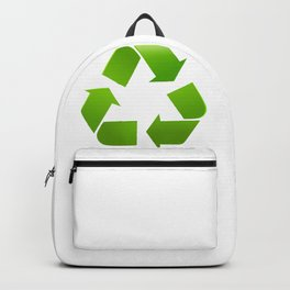 Green Recycle symbol on white background Backpack
