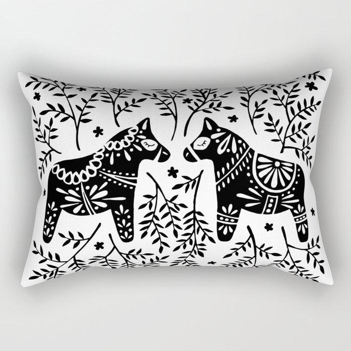 Swedish Dala Horses – Black Palette Rectangular Pillow