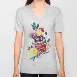 Vivid Asian Blooms Unisex V-Neck