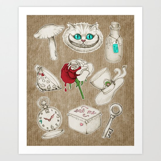 Things you'll find in Wonderland Art Print