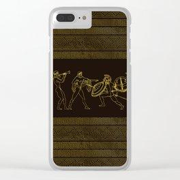 Ancient Sparta  Greece scene on greek pattern Clear iPhone Case