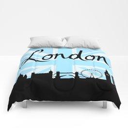 London Script on Union Jack Sky & Sites Comforters