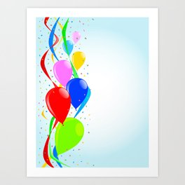 Balloons and Confetti Party Art Print