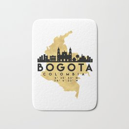 BOGOTA COLOMBIA SILHOUETTE SKYLINE MAP ART Bath Mat