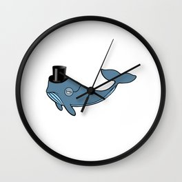Whale Wearing Top Hat Wall Clock