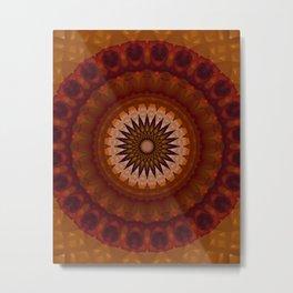 Mandala in red and orange tones Metal Print