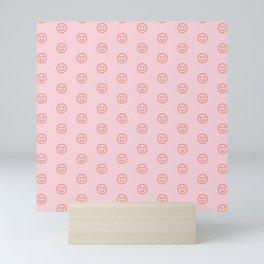 Pink smilies Mini Art Print
