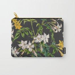 Vintage white blush pink orange dark gray floral Carry-All Pouch
