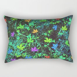 maple leaf in pink blue green orange with green creepers plants Rectangular Pillow