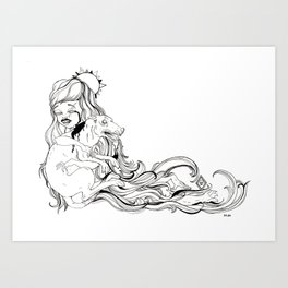 Dog Girl Art Print