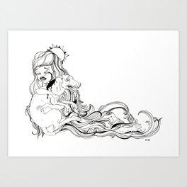 Dog Girl Art Print