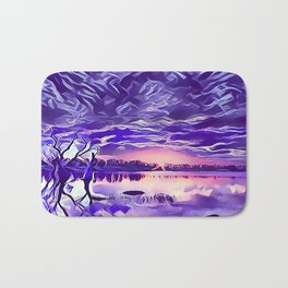 Cloudy Morning Sunrise on the Lake Bath Mat