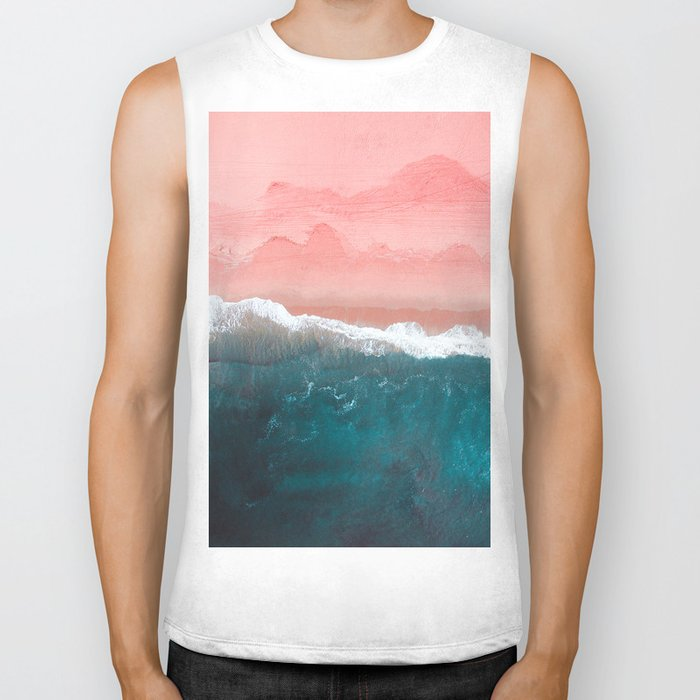 Turquoise Sea Pastel Beach II Biker Tank