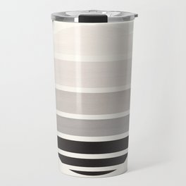 Grey Mid Century Modern Minimalist Circle Round Photo Staggered Sunset Geometric Stripe Design Travel Mug