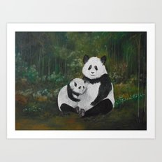 Panda Momma and Baby Art Print