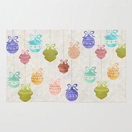 Colorful Watercolor Christmas Ornaments Rug