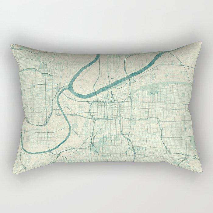 Kansas City Map Blue Vintage Rectangular Pillow