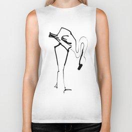 Simple Black Ink Flamingo Illustration, Minimalist Art. Biker Tank