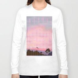 Plaid Landscape Tranquil Sunset Long Sleeve T-shirt
