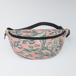 Narwhal Toile - peach pink Fanny Pack