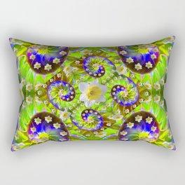 ULTRA VIOLET GREEN DAFFODIL GARDEN MAZE Rectangular Pillow